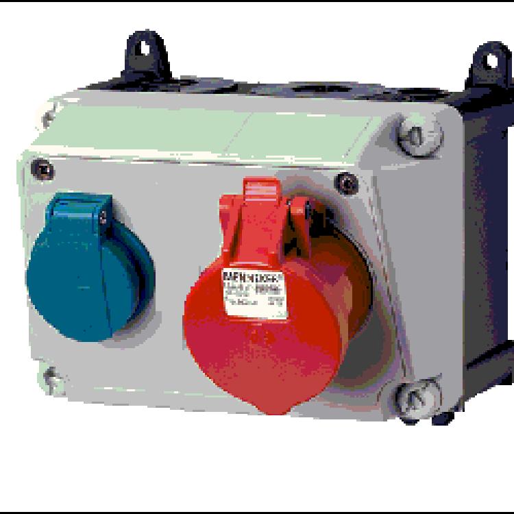 Bộ liên hợp ổ cắm công nghiệp 1x(CEE 16A-3P-230V-IP44) +1x(CEE 32A-400V-IP44)
