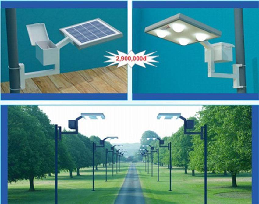 Đèn sân vườn năng lượng mặt trời 2 bóng
