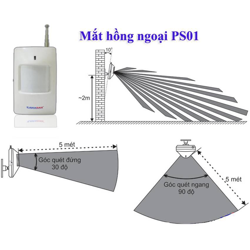 Cảm ứng báo trộm không dây KW-PS01A