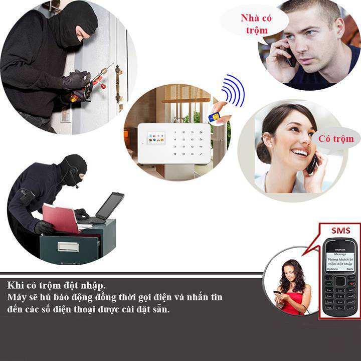 báo trộm qua điện thoại dùng Sim Model KW-260B sim